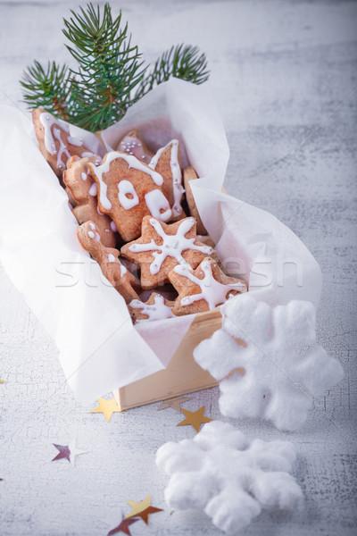 Navidad pan de jengibre vacaciones decoración blanco calendario Foto stock © user_11224430