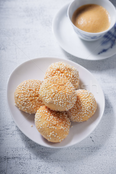 Stock photo: Almond cookies and coffee