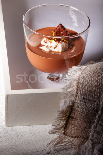 Mus czekoladowy deser czekolady krem szkła żywności Zdjęcia stock © user_11224430