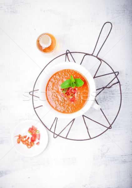 Puchar świeże zupa pomidorowa lata czerwony pomidorów Zdjęcia stock © user_11224430