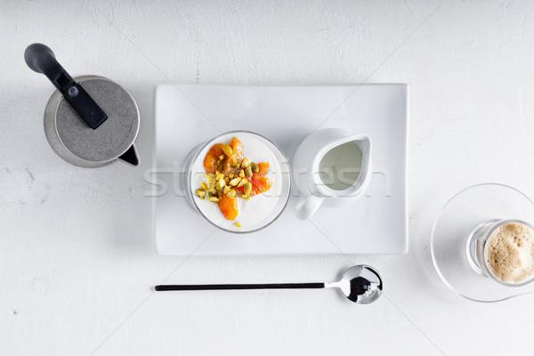 Joghurt aszalt kávé fehér felület étel Stock fotó © user_11224430