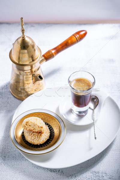 Mandulák sütik kávé dohányzóasztal desszert ünnep Stock fotó © user_11224430