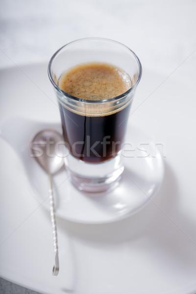 Beker koffiekopje koffie espresso lepel cafe Stockfoto © user_11224430