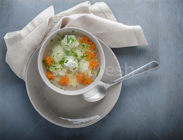 Tyúkhúsleves húsgombócok zöldségek szalvéta vacsora tányér Stock fotó © user_11224430
