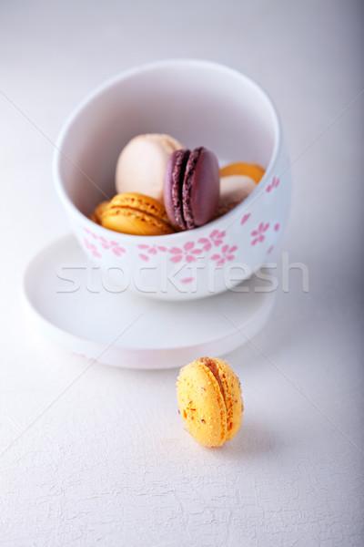 Mandulák sütik mandula francia fehér felület Stock fotó © user_11224430