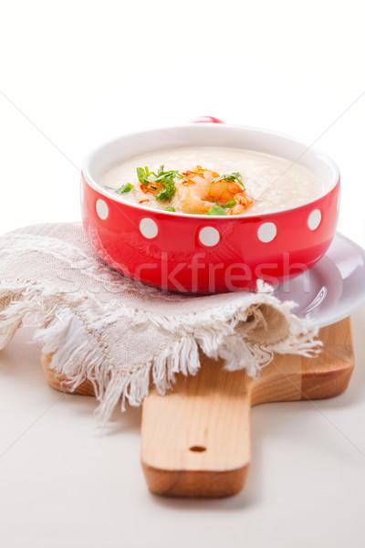 Kom romig bloemkool soep diner plantaardige Stockfoto © user_11224430