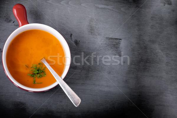 Sütőtök leves kanál felszolgált asztal étel Stock fotó © user_11224430