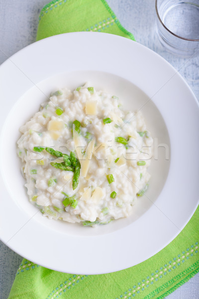 Risotto asperges blanche plaque fromages servi Photo stock © user_11224430