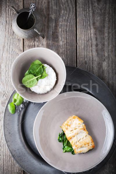 ıspanak ahşap yüzey akşam yemeği fotoğrafçılık Stok fotoğraf © user_11224430