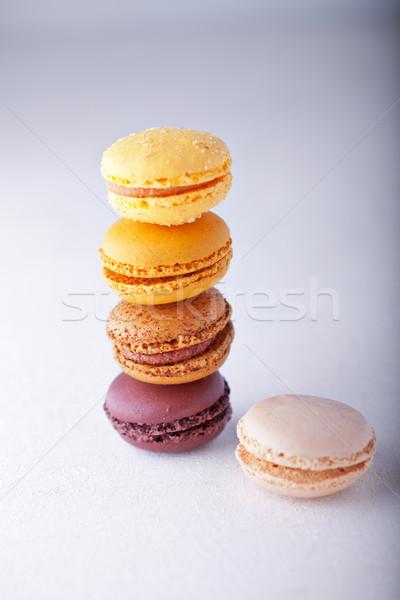 Colorido almendra cookies blanco superficie alimentos Foto stock © user_11224430
