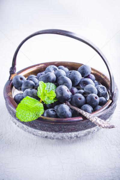 Fresco de mesa de madeira fruto colher Foto stock © user_11224430