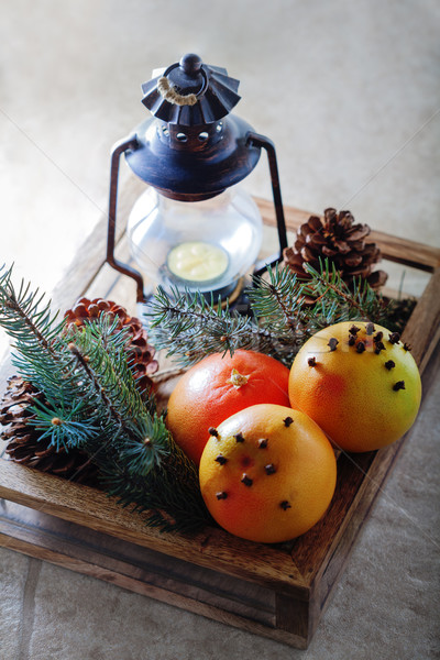 Christmas grapefruits in wooden box  Stock photo © user_11224430