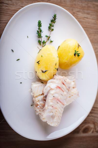 Al vapor peces papa blanco placa alimentos Foto stock © user_11224430