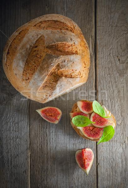 Szendvics puha sajt étel gyümölcs kenyér Stock fotó © user_11224430