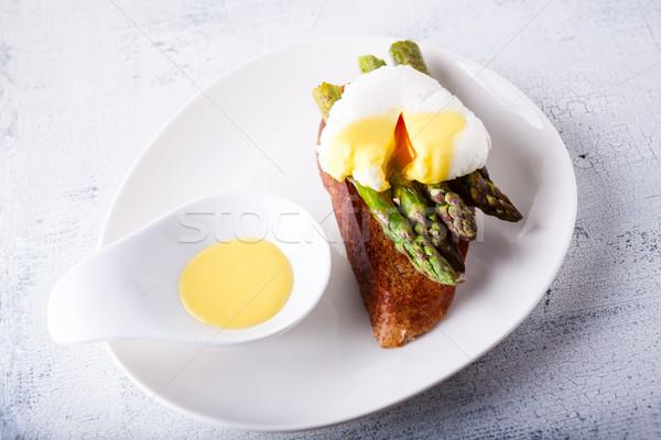 яйцо спаржа зеленый тоста хлеб завтрак Сток-фото © user_11224430