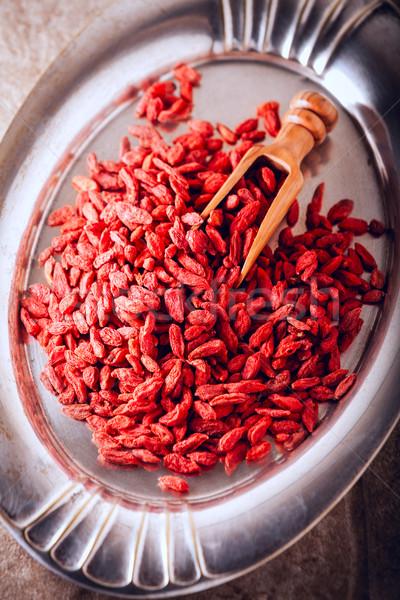 Stock fotó: Aszalt · bogyók · fakanál · tálca · étel · gyümölcs