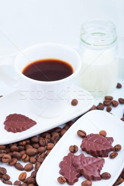 Beker koffie chocolade melk drinken macro Stockfoto © user_11224430