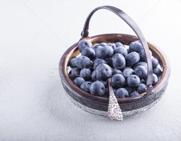 Fresco colher mesa de madeira fruto de Foto stock © user_11224430
