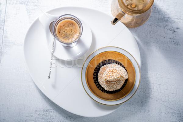 Kávé kézzel készített mandula sütik asztal reggeli Stock fotó © user_11224430