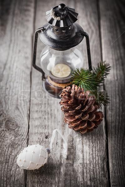 Natal velho lâmpada rústico madeira Foto stock © user_11224430