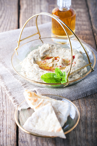 Baba ghanoush, eggplant dip, mediterranean food. Stock photo © user_11224430