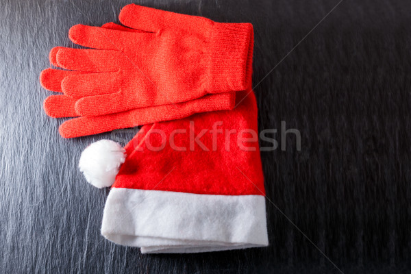 Santa's hat  and red gloves  Stock photo © user_11224430