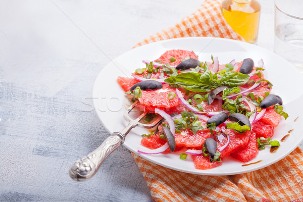 Grapefruit salade olijven basilicum vruchten Stockfoto © user_11224430