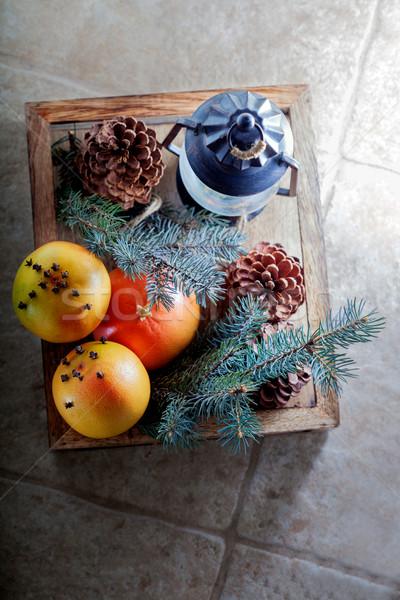 Christmas sinaasappelen houten vak steen oppervlak Stockfoto © user_11224430