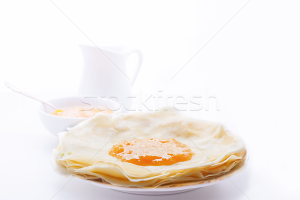 хрустящий абрикос Jam белый пластина Сток-фото © user_11224430