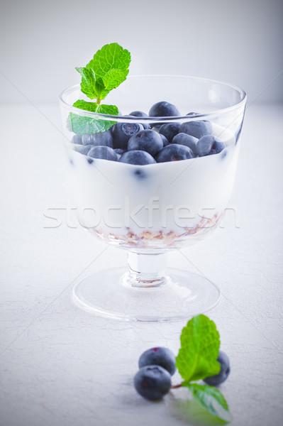 Yoğurt taze müsli beyaz yüzey Stok fotoğraf © user_11224430