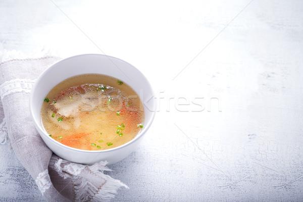 свежие куриный суп домашний ложку белый салфетку Сток-фото © user_11224430
