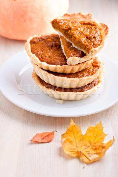 Sütőtök pite desszert fehér tányér felszolgált Stock fotó © user_11224430