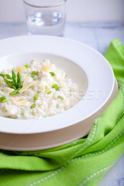 Rizottó spárga fehér tányér sajt felszolgált Stock fotó © user_11224430