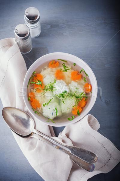 Caldo de pollo albóndigas hortalizas mesa placa carne Foto stock © user_11224430