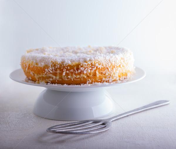 Fatia caseiro coco bolo branco Foto stock © user_11224430