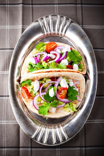 Frango tacos legumes panela comida prato Foto stock © user_11224430
