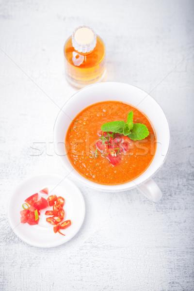Bowl of Fresh tomato soup Gazpacho. Stock photo © user_11224430