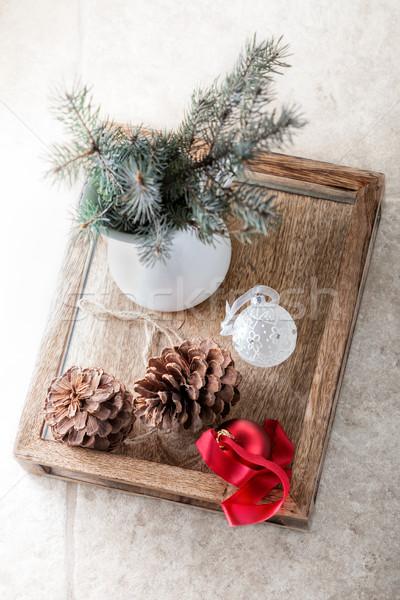 Karácsony szimbólumok fehér játékok ajándék Stock fotó © user_11224430