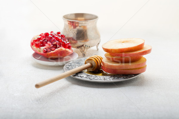 Mele melograno miele piatto fotografia jar Foto d'archivio © user_11224430