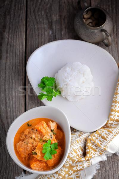 Tavuk köri pirinç hizmet ahşap yüzey gıda Stok fotoğraf © user_11224430