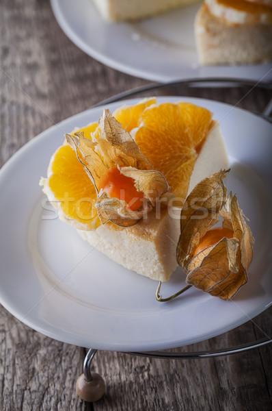 Sernik odznaczony pomarańcze sernik ciasto pomarańczowy Zdjęcia stock © user_11224430