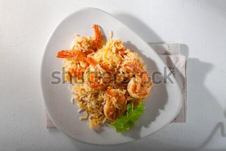 Garnalen rijst kom voedsel lunch Stockfoto © user_11224430