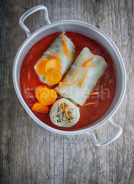 Töltött káposzta tekercsek hús rizs vacsora Stock fotó © user_11224430