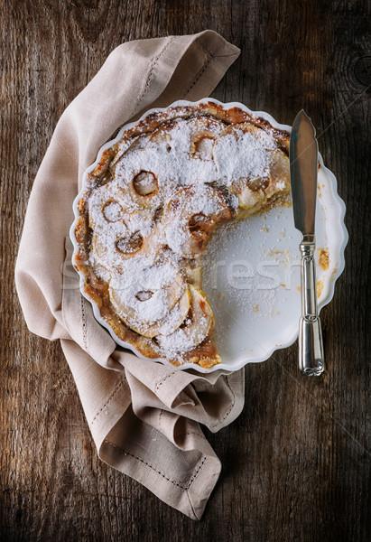 Appeltaart houten tafel plakje voedsel appel vruchten Stockfoto © user_11224430