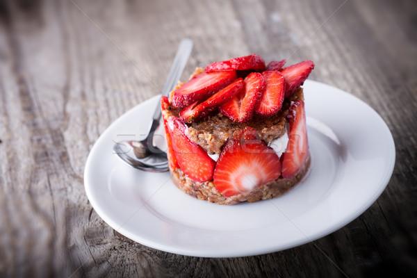 イチゴ カスタード 白 プレート 食品 ストックフォト © user_11224430