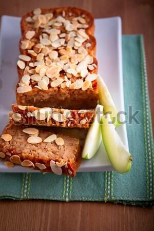 Pastel de manzana canela blanco placa alimentos pie Foto stock © user_11224430