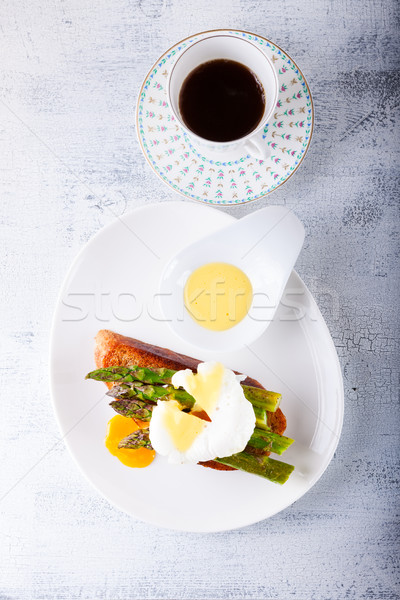 Poached egg and asparagus Stock photo © user_11224430