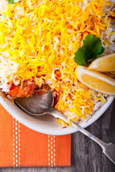Indian garnalen voedsel rijst maaltijd Spice Stockfoto © user_11224430