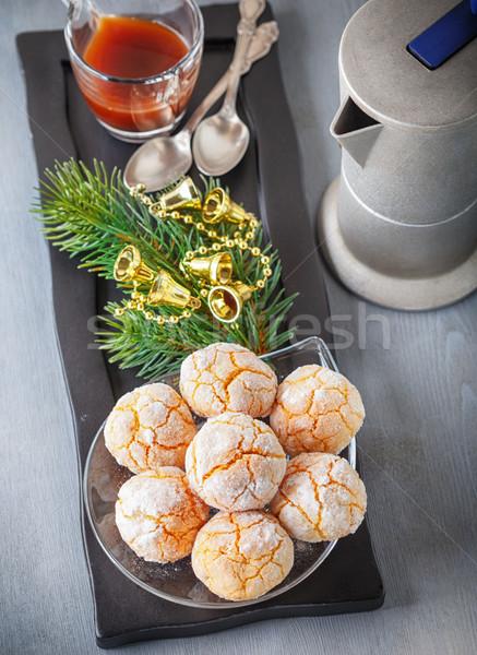 Stock fotó: Mandulák · sütik · kávé · edény · étel · karácsony