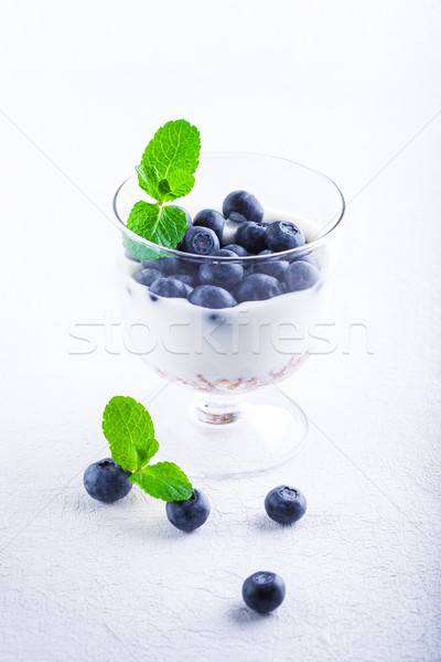 Yogurt with fresh blueberry and muesli Stock photo © user_11224430